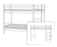 Double bunk bed convertible into a high single