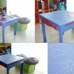 Mesita convertible en cocina disponible con pintura efecto pizarra tiza o rotulador